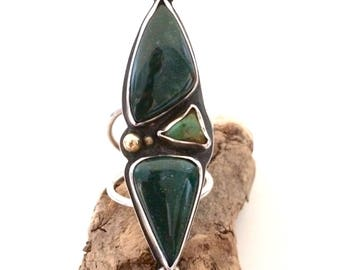 Bloodstone, Turquoise, sterling silver, brass, large, statement, ring