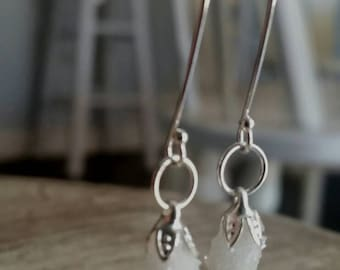 Druzy Quartz earwires dangle sterling silver