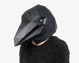 Raven Mask, Crow Mask, 3 Eyed Raven, Bird Mask, Halloween Mask, Black Bird, Instant Pdf download, Printable Paper Mask, 3D, Polygon Masks