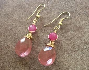 Pink Spring Earrings, Cherry Quartz Dangle Earrings, Pink Jade
