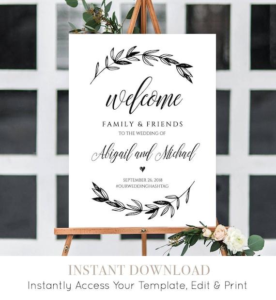 Wedding Welcome Sign Template, Printable Poster, 100% Editable, Instant Download, Rustic Laurels, Calligraphy, DIY, 18x24 & 24x36 #023-106LS