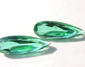 2 Pieces Beautiful Teal Green Quartz Faceted Pear Shaped Briolette Loose Gemstone Size 31X11 MM