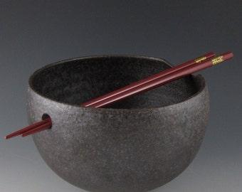 Made to Order-Matte Black Noodle Bowl with Chopsticks