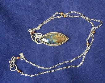 Long Necklace - Labradorite Pendant - Silver Jewelry - Handmade Jewelry - Boho Jewelry