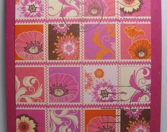Pink & Orange Postage Chic • Box of 8 Handmade Cards