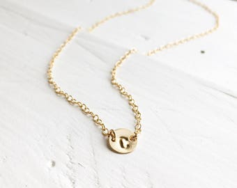 14K Yellow Gold Initial Necklace, 14Kt Gold Link Tiny Initial Necklace, Gold Initial Necklace, Everyday Wear, Holiday Gift, Gift for Her