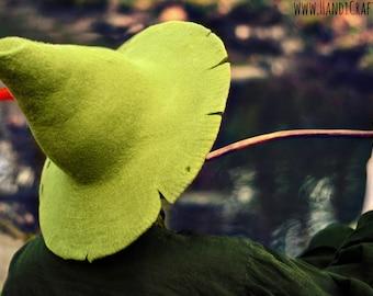 "Costume Hat. ""Snufkin"" Cosplay Hat. Tattered Wizard Hat. Ragged Fantasy Hat. LARP."