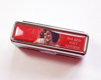 Lipstick case with mirror, Lipstick case, Lipbalm Case, Lipstick holder, gift for her, Retro, Bad Girls, Funny, Humor, Red (4867)