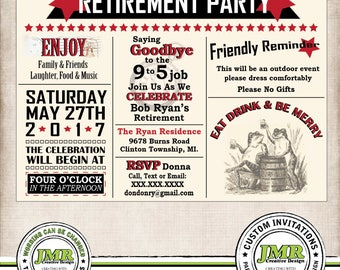 Retirement Party Invitation, Retirement Invite, Eat Drink & Be Merry