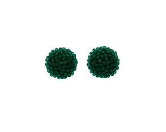Lustered dark GREEN studs earrings -15 mm/charming earring with CLIP on or SILVER post -for pierced or non piercer earlobe