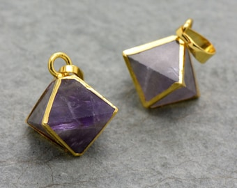 Small Purple Fluorite Octahedron Pendant - 24K Gold Plated Gemstone - Jewelry Making Supplies (DA230)