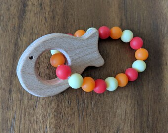 Fish Teether- Beech Wood and Silicone Teething Ring-Baby Teethers- Red, Orange, Yellow