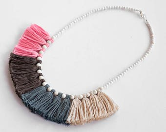 Pink and Blue Necklace, Tassel Necklace, Bib Necklace, Chunky Jewelry, Bohemian Style, Tribal Necklace, Pink Jewelry, Colorful Necklace Boho