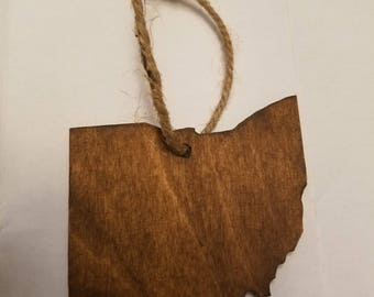Ohio shaped ornament- Stained with twine hanger