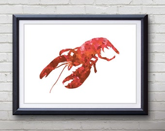 Red Lobster Ocean Animal Print - Home Living - Lobster Painting - Lobster Wall Art - Wall Decor - Home Decor, House Warming Gifts