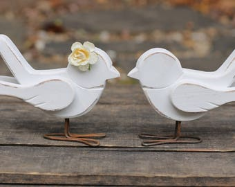 Wedding Cake Topper Love Birds Handmade Rustic Shabby Chic Weddings