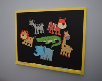 Magnetic Chalkboard WITH Preschool Safari Animal Magnets