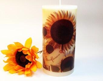 Sunflower Decor, Fall Candles, Rustic Fall Decor, Sunflower Candle, Sunflower Primitive Decor, Sunflower Kitchen Decor, Decorative Candle