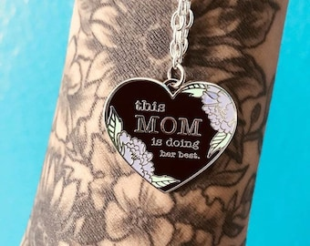This Mom is Doing Her Best 1 Inch Silver Plated Necklace