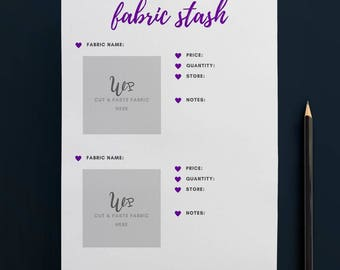 Printable Fabric Stash Organiser in PURPLE (2 to Page) // Fabric Planner //Printable Planner // A4 Size  //Paper // Instant Download
