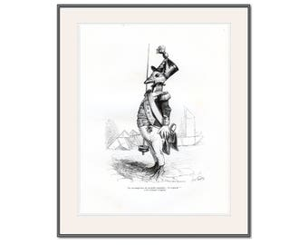 Sergeant Duck in Uniform, Trois Etoile, French Satire, Cartoon 30, Anthropomorphic, Animals in Clothes, Political Caricature Gift for Him