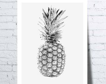 Displays black and white pineapple, pineapple, tropical fruit