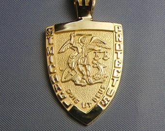 St michael medal 14k gold archangel michael patron saint of st michael medal 14k gold archangel michael patron saint of police officers aloadofball Images