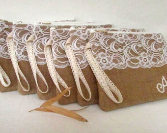 Set of 2/Bridal gift idea -PERSONALIZED clutch- burlap clutch/wedding bag /Personalized Bridesmaid clutch / /express shipping