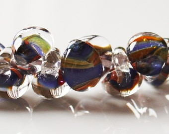 10mm Unicorne Tear Drop Lampwork Beads - Exotic Hyacinth - 4 Pieces - 21113