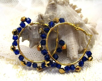 Vintage style  wire wrapped earrings/boho/gipsy earrings/boho earrings/wired earrings/blue and gold earrings/gift for her/