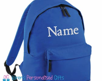 Personalised Kids Backpack, Blue, Embroidered with any Name, Rucksack, School Bag