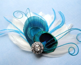 IVY Turquoise and Natural Peacock with White Feathers and Crystal Hair Clip, Feather Fascinator, Bridal Hair Piece