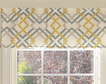 Made to Order Window Curtains, Yellow Window Valance - Yellow Valance - 52 x 16 Valance - Window Treatment - Winston Yellow Window Valance