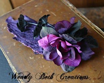 Dark Fae Hair Clip Fascinator - Belly Dance, Wedding, Bridal, Prom, Vegan, ATS, Tribal Fusion, Hair Garden, Purple, Black