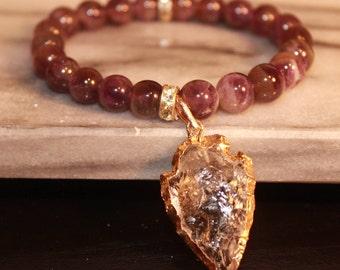 Amethyst Bracelet With Arrowhead Druzy|gemstone|Boho|Bohemian|February Birthstone|Everyday Jewelry|Raw Quartz crystal|mom gift