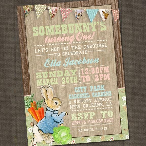 Peter Rabbit Invitation Peter Rabbit Birthday Invitation