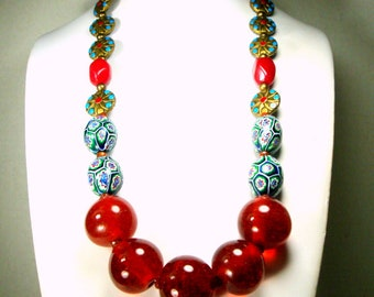 Cherry Glass, Millefiori Beads, Enamel Brass Pinwheels & STONE Bead Necklace,  OOAK R Starr