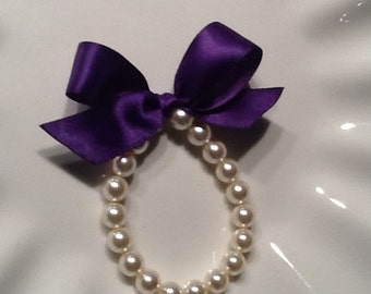 Little Girl Pearl Bracelet with ribbon for flower girl gift, birthday gift, baby or girls photo prop