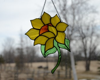 Stained Glass Sunflower Sun Catcher