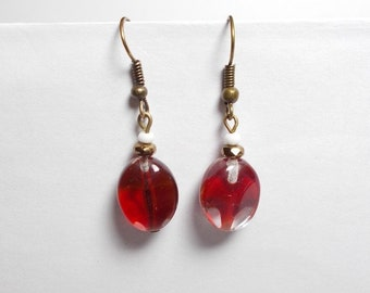 Bohemian red, transparent glass beads earrings