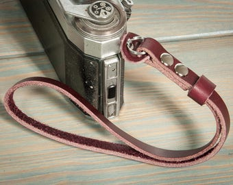 10mm wide burgundy camera wrist strap