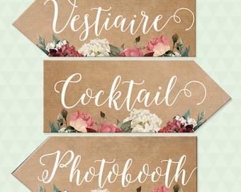 Wedding signs, flowers and kraft