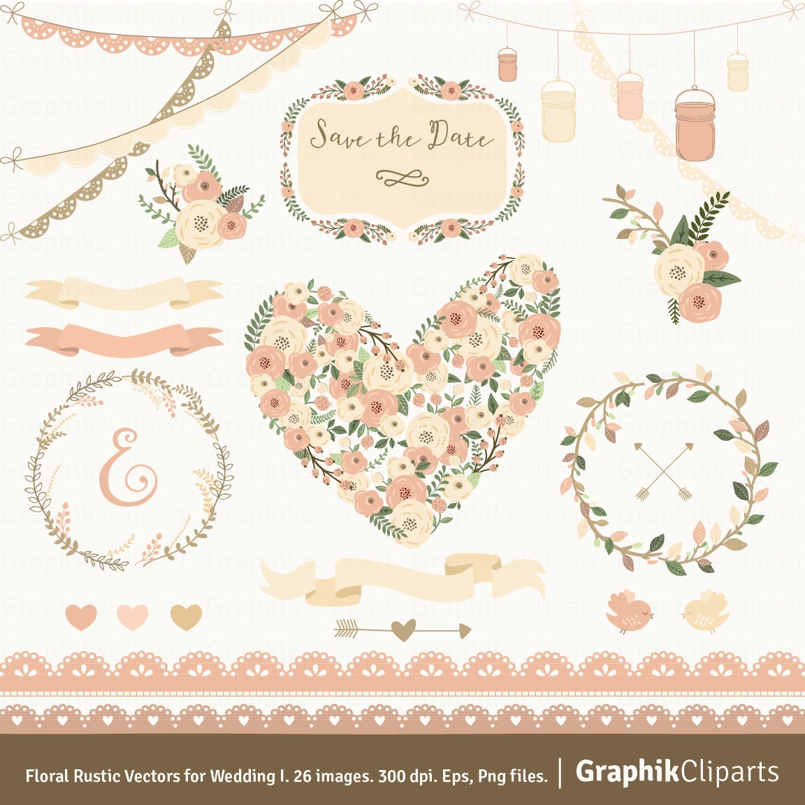 Floral Rustic Vectors For Wedding 1 FLORAL HEART