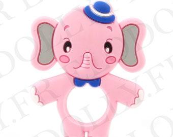 Pink elephant silicone teething ring-