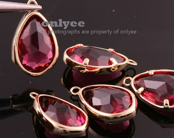 2pcs-17mmX10.5mBright Gold Faceted NEW Style Tear Drop With Glass pendants-Ruby(M395G-H)
