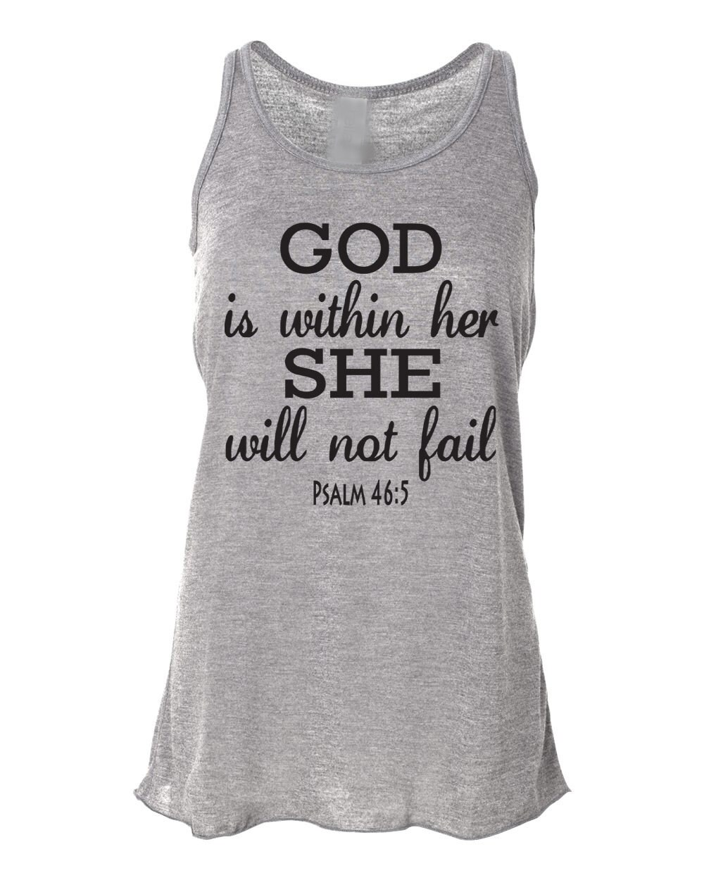 Workout Quotes For Her: Running Tank Top Psalm 46:5 God Is Within Her. Workout Tank