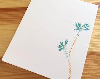 Blue Floral Notepad - Small Watercolor Blue Flower Notepad - 4 x 5 Handmade Botanical Notepad - Gardener Gift - 40 Sheet Notepad