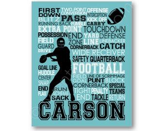 Football Typography Poster, Football Art, Football Team Print, Football Team Gift, Football Coach Gift, Football Player Canvas, Football Art