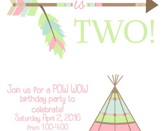 Pow Wow Party Invitation