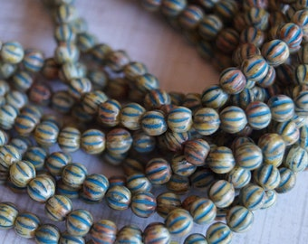 4mm Melon Round Beads - Ivory Turquoise Wash Picasso - Czech Glass Beads - 4mm Fluted Round Beads - Bead Soup Beads
